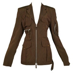 Vintage Jean Paul Gaultier Brown Pinstripe Utility Blazer Jacket