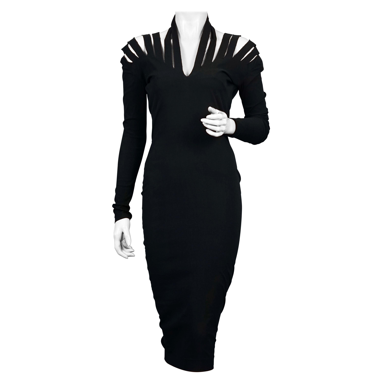 Vintage JEAN PAUL GAULTIER Cage Cutout Shoulder Bodycon Black Dress