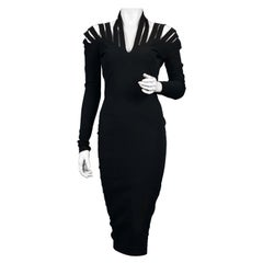 Vintage JEAN PAUL GAULTIER Cage Cutout Shoulder Bodycon Black Dress