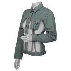 Vintage JEAN PAUL GAULTIER Cage Openwork Military Green Jacket