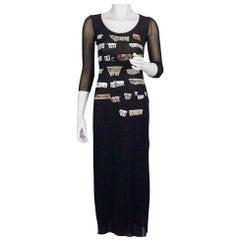 Vintage JEAN PAUL GAULTIER Collage Applique Patches Sheer Mesh Dress