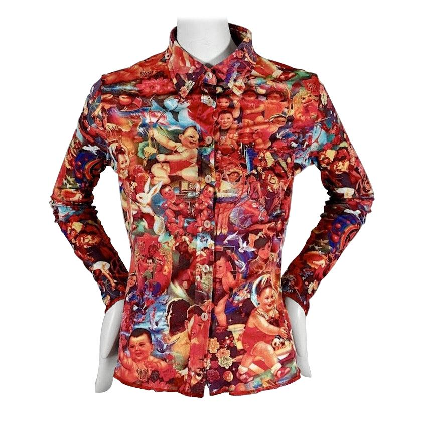 Vintage JEAN PAUL GAULTIER Colorful Pop Art Children Print Long Sleeves Shirt