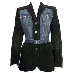 Vintage JEAN PAUL GAULTIER Combined Denim Black Corduroy Blazer Jacket