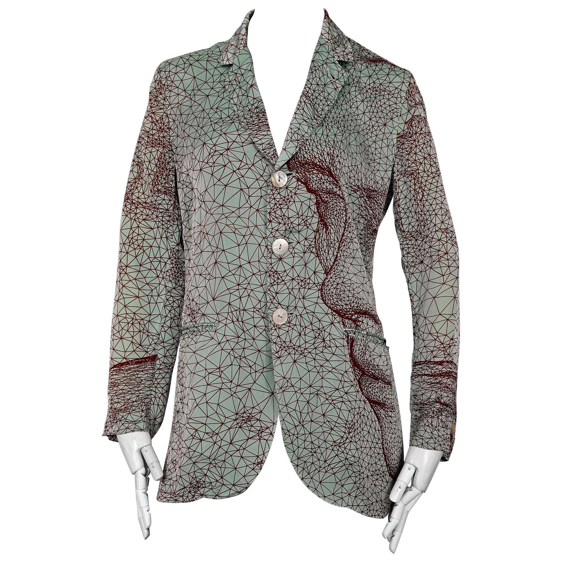Vintage JEAN PAUL GAULTIER Constellation Face Optic Illusion Shirt Blazer Jacket