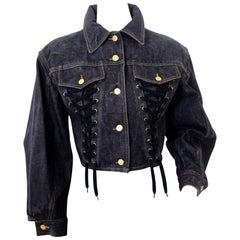 Vintage JEAN PAUL GAULTIER Corset Lace Up Denim Jacket