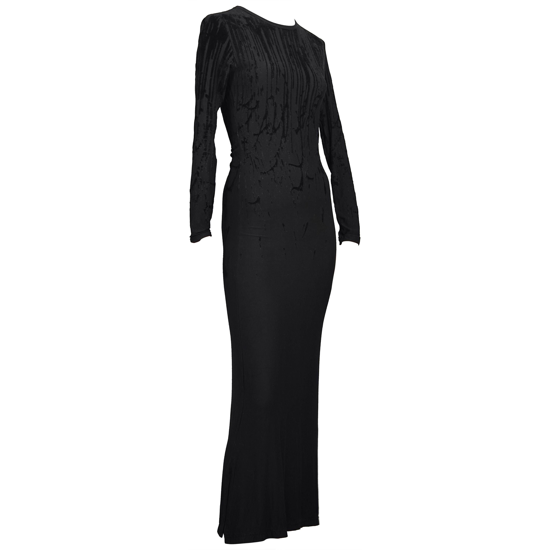 Vintage JEAN PAUL GAULTIER Drip Burnout Velvet Black Dress
