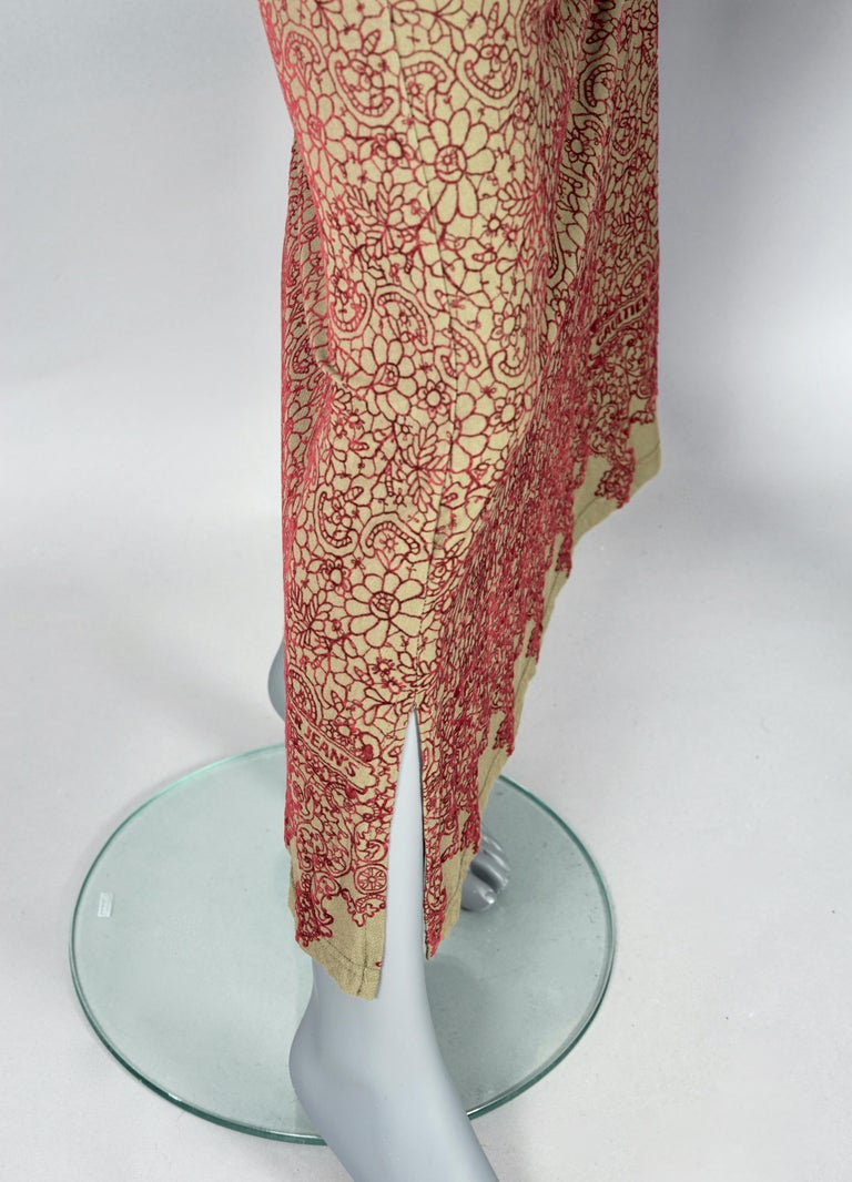 Vintage JEAN PAUL GAULTIER Embroidered Tattoo Pattern Maxi Dress For Sale 5