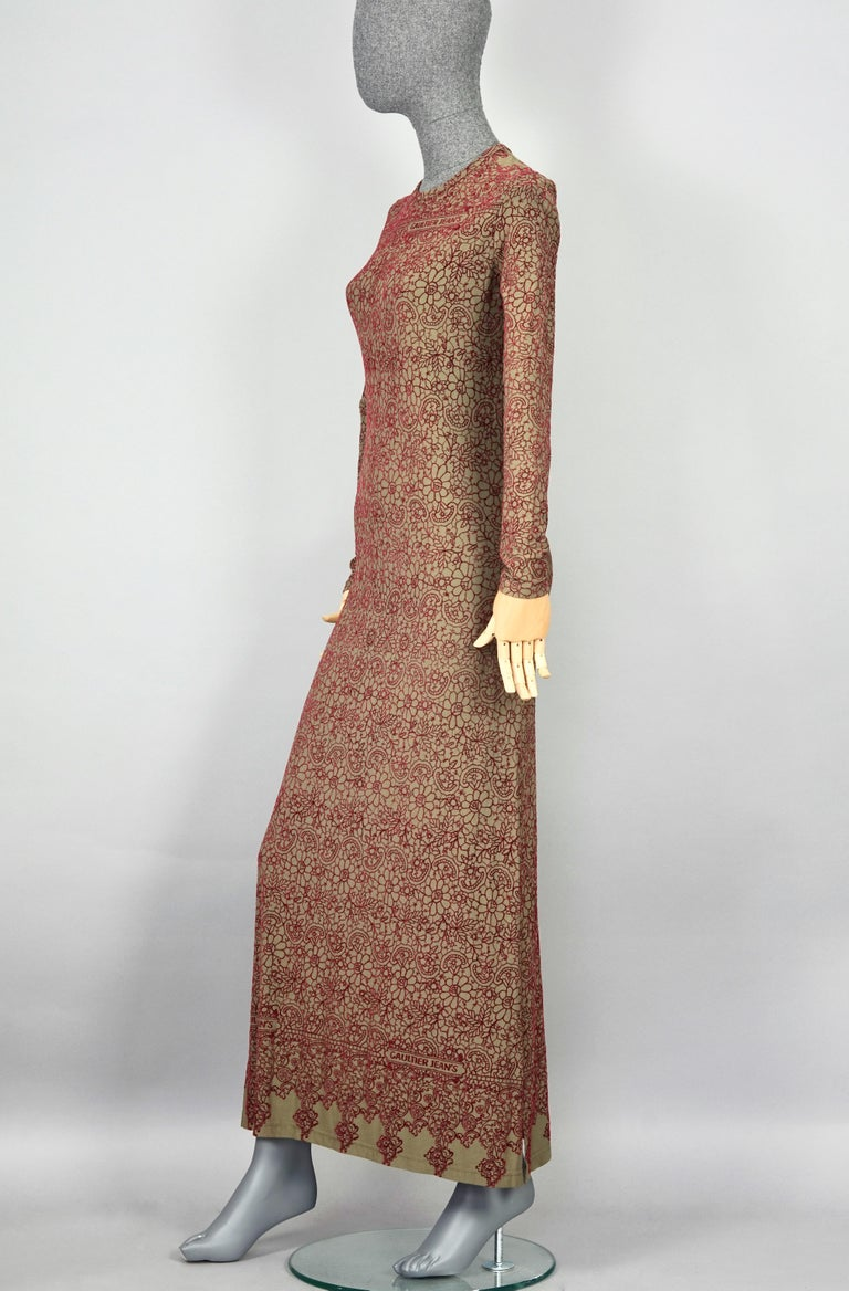Vintage JEAN PAUL GAULTIER Embroidered Tattoo Pattern Maxi Dress  Measurements taken laid flat, please double bust, waist and hips: Shoulder: 14.37 inches (36.5 cm) Sleeves: 24.21 inches (61.5 cm) Bust: 17.71 inches (45 cm) without stretching Waist: