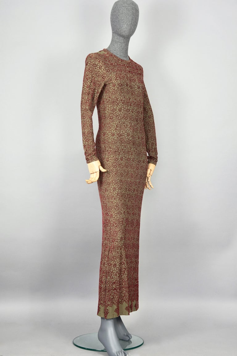 Brown Vintage JEAN PAUL GAULTIER Embroidered Tattoo Pattern Maxi Dress For Sale