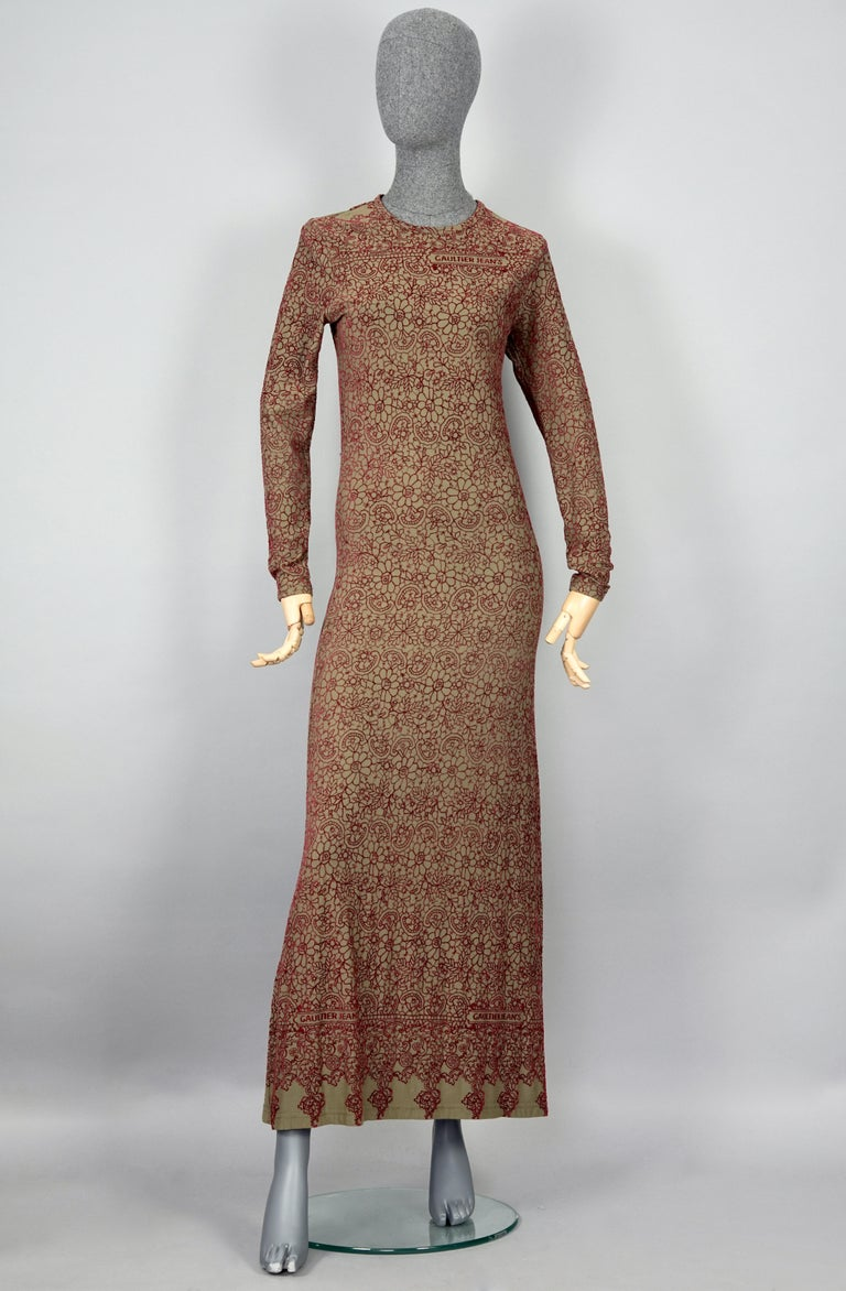 Vintage JEAN PAUL GAULTIER Embroidered Tattoo Pattern Maxi Dress In Excellent Condition For Sale In Kingersheim, Alsace