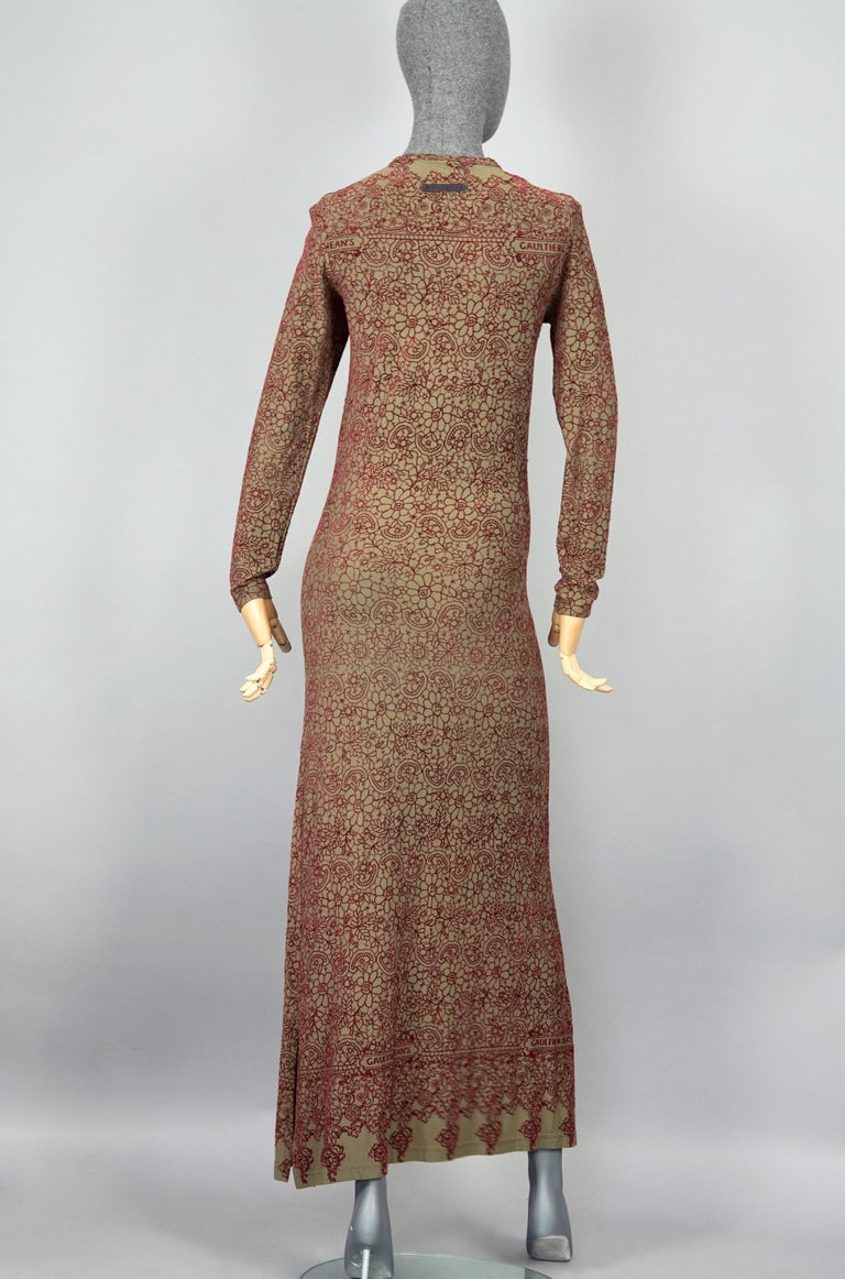 Women's Vintage JEAN PAUL GAULTIER Embroidered Tattoo Pattern Maxi Dress For Sale