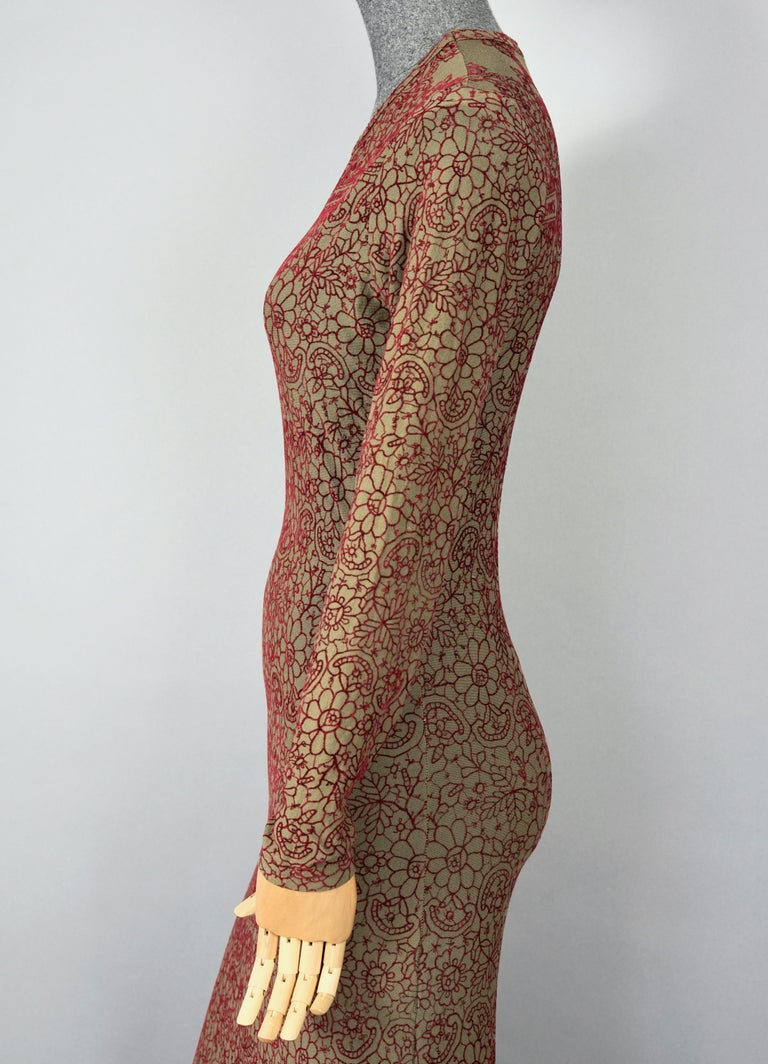 Vintage JEAN PAUL GAULTIER Embroidered Tattoo Pattern Maxi Dress For Sale 1