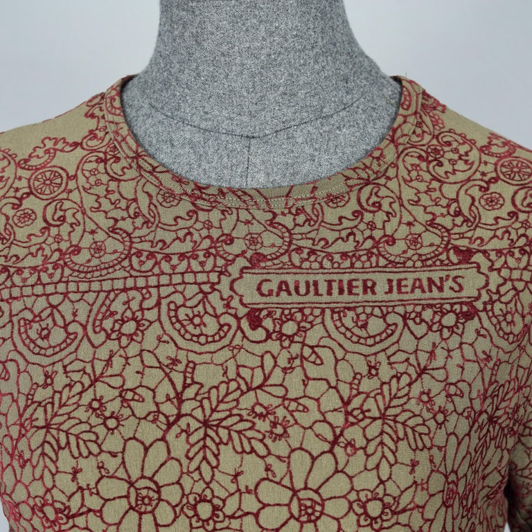 Vintage JEAN PAUL GAULTIER Embroidered Tattoo Pattern Maxi Dress For Sale 2