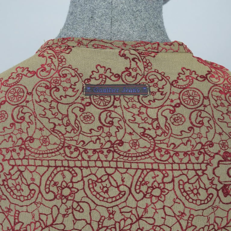 Vintage JEAN PAUL GAULTIER Embroidered Tattoo Pattern Maxi Dress For Sale 3