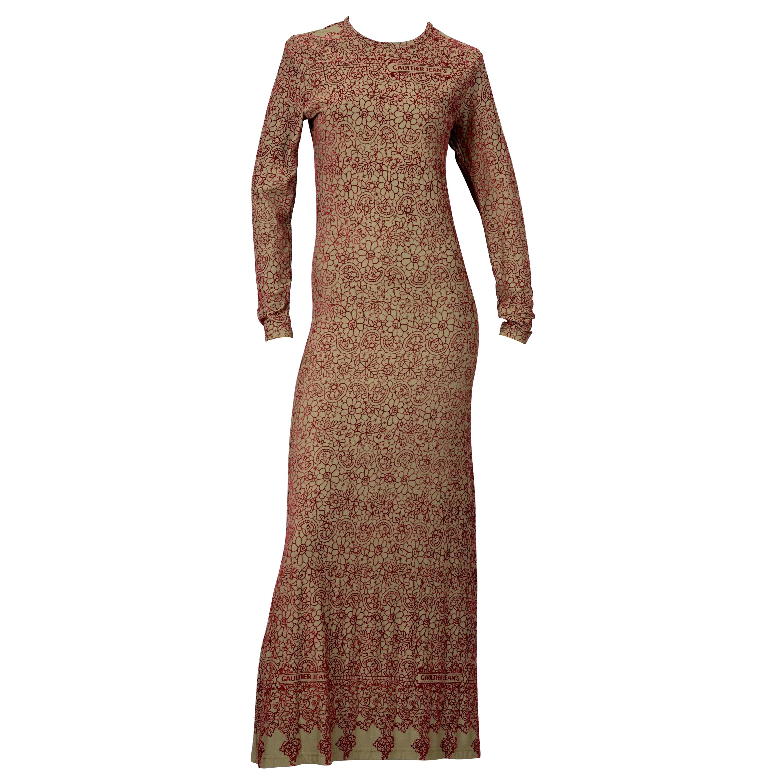Vintage JEAN PAUL GAULTIER Embroidered Tattoo Pattern Maxi Dress