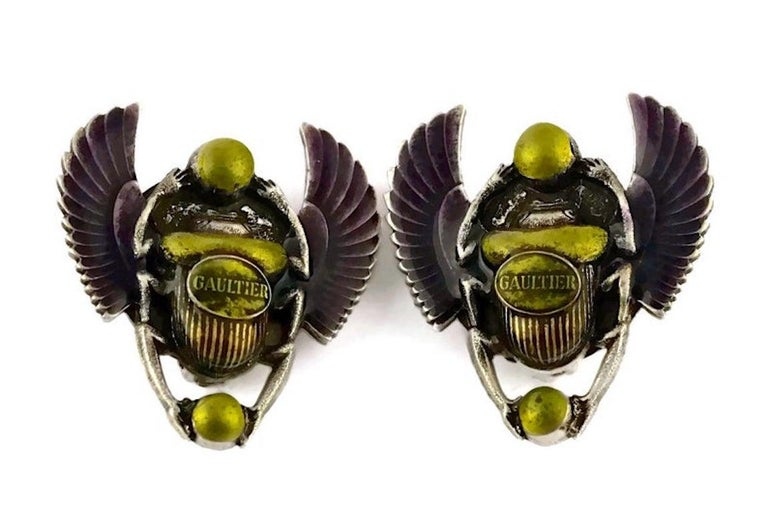 Vintage JEAN PAUL GAULTIER Enameled Scarab Egyptian Earrings For Sale 1