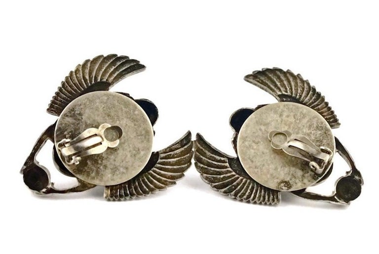Vintage JEAN PAUL GAULTIER Enameled Scarab Egyptian Earrings For Sale 2