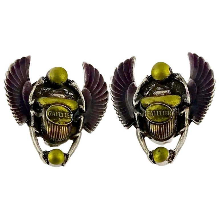 Vintage JEAN PAUL GAULTIER Enameled Scarab Egyptian Earrings For Sale