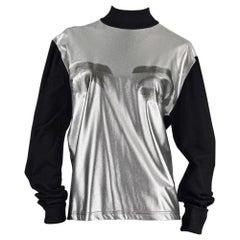Vintage JEAN PAUL GAULTIER Eyes Metallic Silver Sweater Shirt