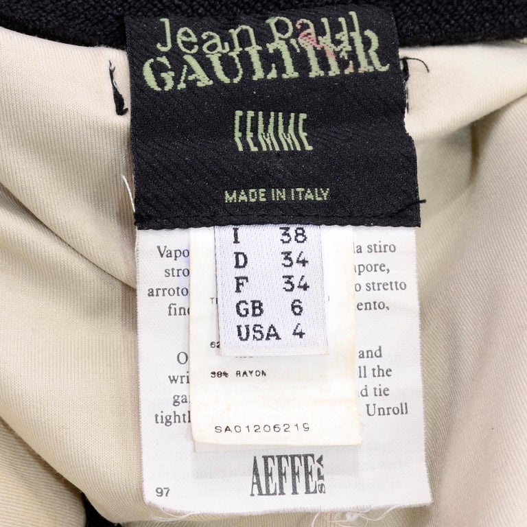 Vintage Jean Paul Gaultier Femme Black Tonal Striped Strapless Dress or Skirt For Sale 7