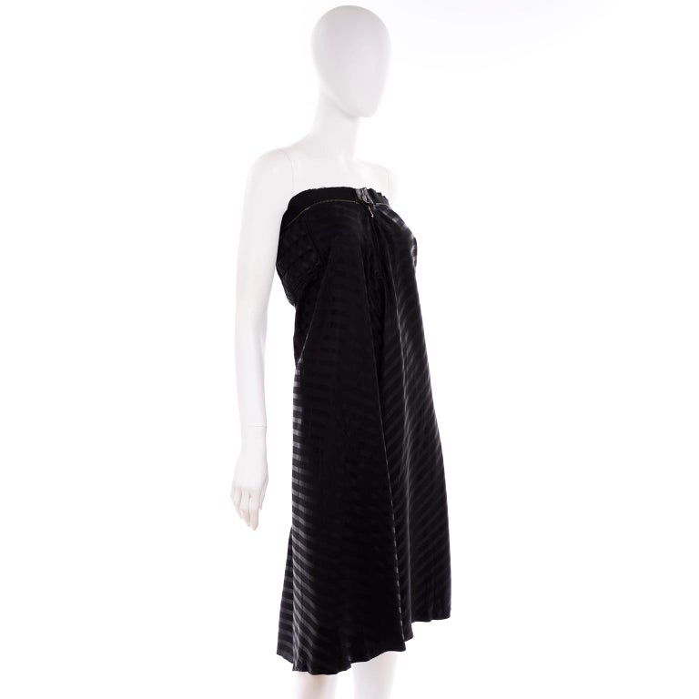 Vintage Jean Paul Gaultier Femme Black Tonal Striped Strapless Dress or Skirt In Excellent Condition For Sale In Portland, OR