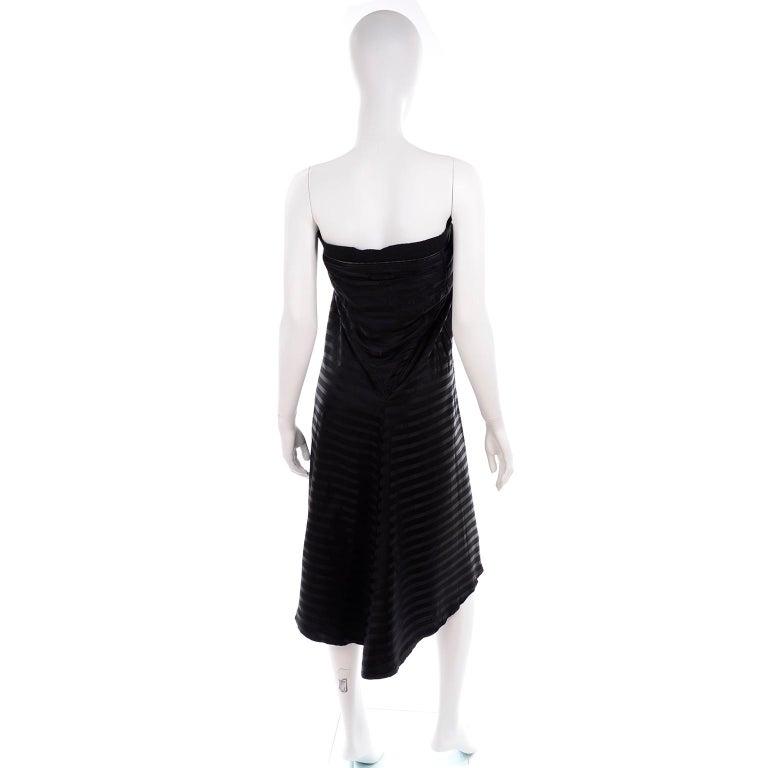 Women's Vintage Jean Paul Gaultier Femme Black Tonal Striped Strapless Dress or Skirt For Sale
