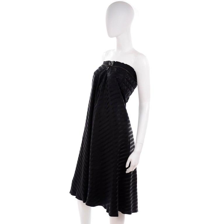 Vintage Jean Paul Gaultier Femme Black Tonal Striped Strapless Dress or Skirt For Sale 1