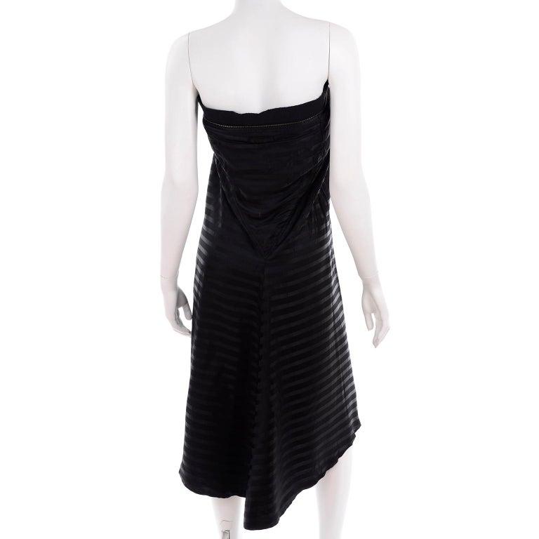 Vintage Jean Paul Gaultier Femme Black Tonal Striped Strapless Dress or Skirt For Sale 2