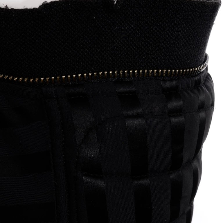 Vintage Jean Paul Gaultier Femme Black Tonal Striped Strapless Dress or Skirt For Sale 3