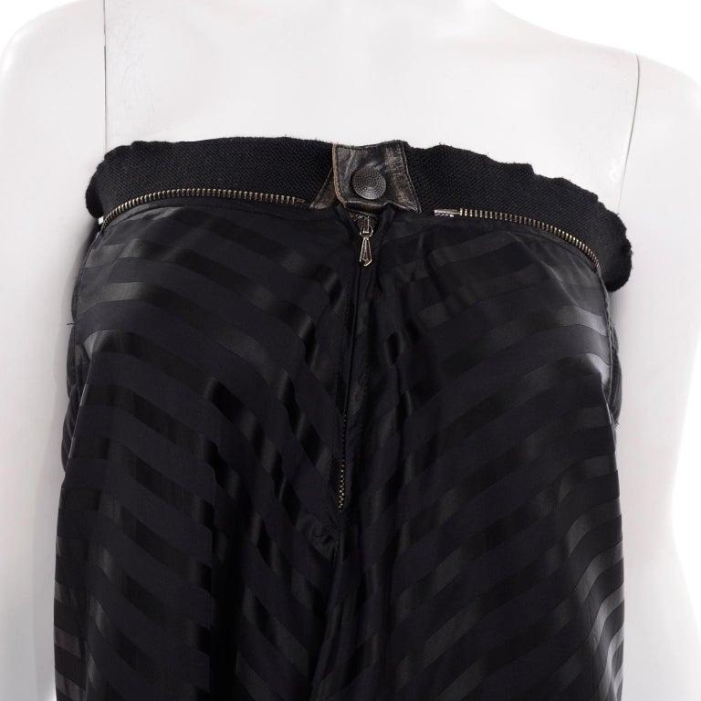 Vintage Jean Paul Gaultier Femme Black Tonal Striped Strapless Dress or Skirt For Sale 5