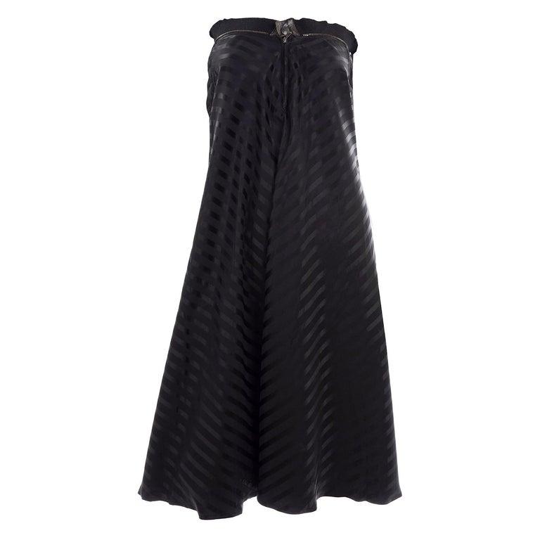 Vintage Jean Paul Gaultier Femme Black Tonal Striped Strapless Dress or Skirt For Sale