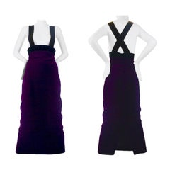 Vintage JEAN PAUL GAULTIER High Waisted Suspender Velvet Skirt Dress