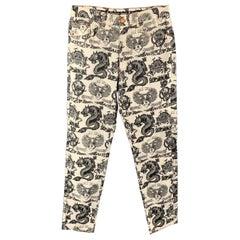 Vintage JEAN PAUL GAULTIER JEANS Size 30 Dragon & Skulls Cream / Black Pants