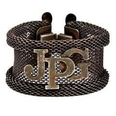 Vintage JEAN PAUL GAULTIER Logo Rustic Mesh Cuff Bracelet