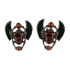 Vintage JEAN PAUL GAULTIER Logo Scarab Egyptian Enamel Earrings