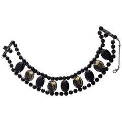 Vintage JEAN PAUL GAULTIER Male Torso Black Rhinestone Choker Necklace