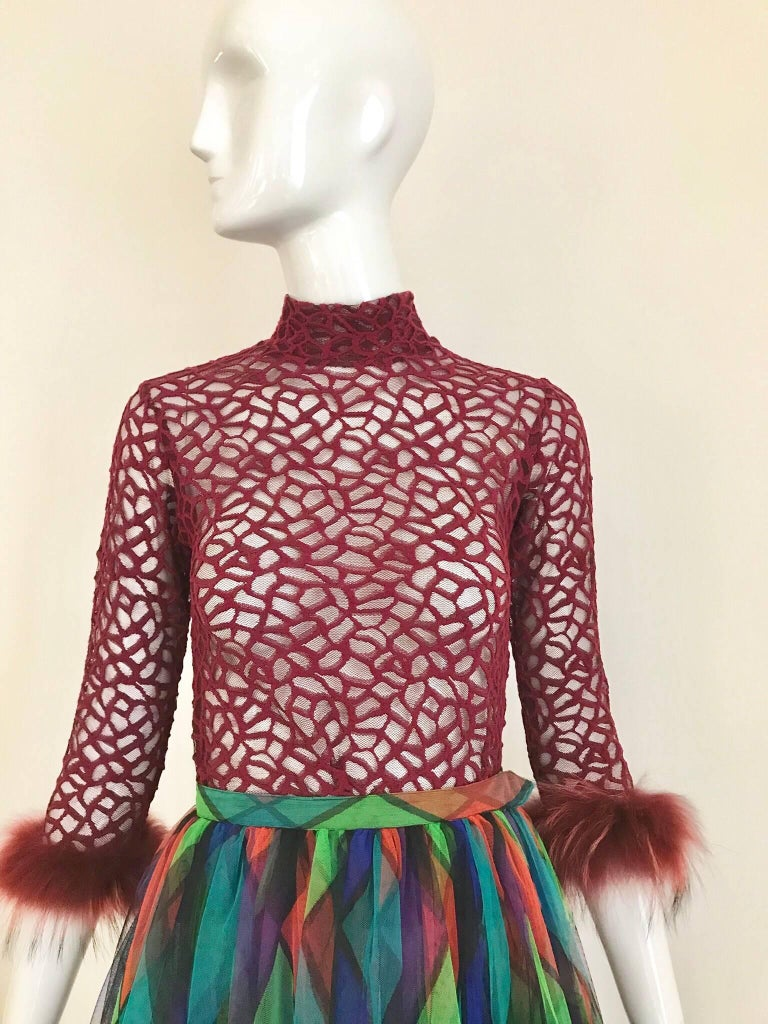 seventies hair styles vintage jean paul gaultier maroon mesh top with ostrich 2254