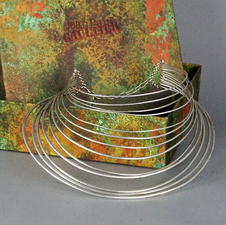 Women's Vintage JEAN PAUL GAULTIER Masai Multi Wire Silver Choker Necklace For Sale
