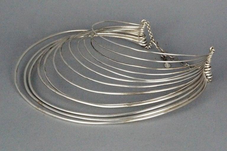 Vintage JEAN PAUL GAULTIER Masai Multi Wire Silver Choker Necklace For Sale 1