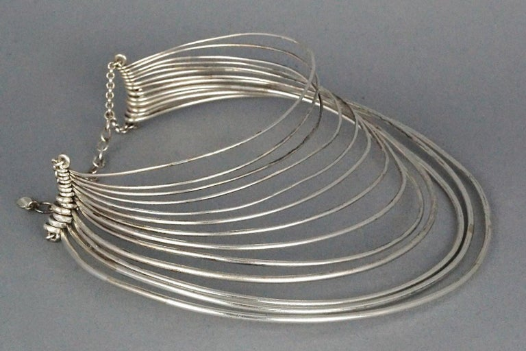 Vintage JEAN PAUL GAULTIER Masai Multi Wire Silver Choker Necklace For Sale 2