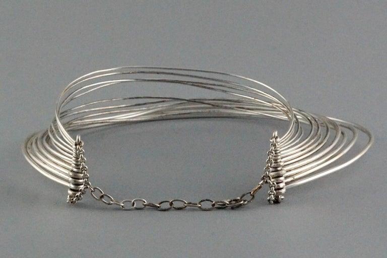 Vintage JEAN PAUL GAULTIER Masai Multi Wire Silver Choker Necklace For Sale 3