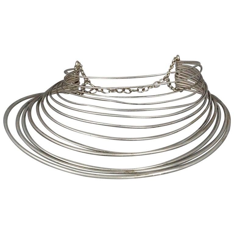 Vintage JEAN PAUL GAULTIER Masai Multi Wire Silver Choker Necklace For Sale