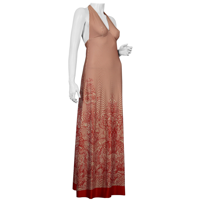 Vintage JEAN PAUL GAULTIER Mesh Print Maxi Dress