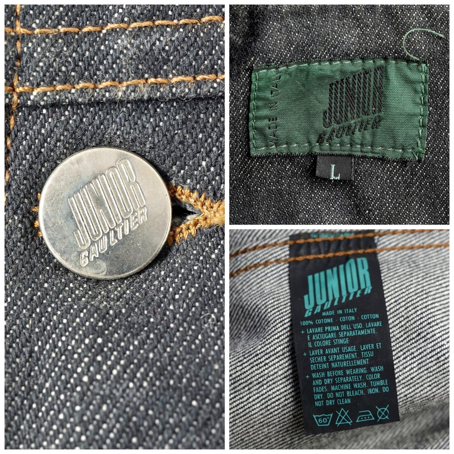 Tissu Jean Paul Gaultier vintage jean paul gaultier metal plate pocket denim jacket