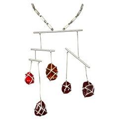 Vintage JEAN PAUL GAULTIER Modernist Mobile Art Dangling Stones Necklace