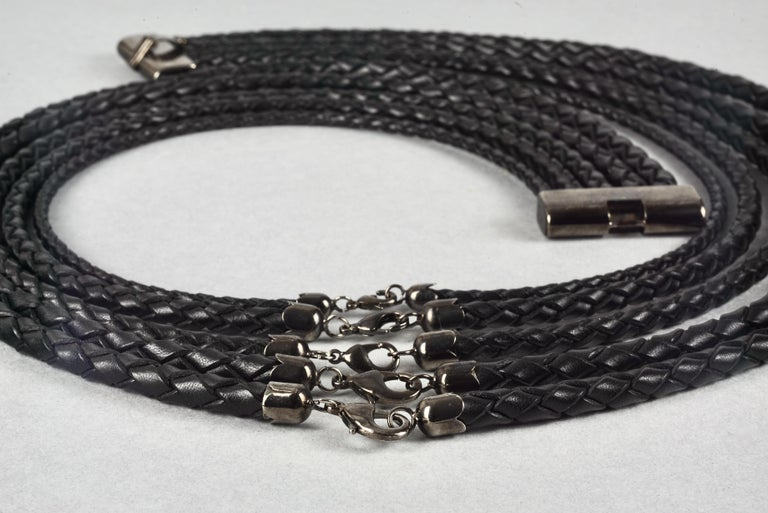 Vintage JEAN PAUL GAULTIER Multi Layer Braided Leather Necklace Belt For Sale 5