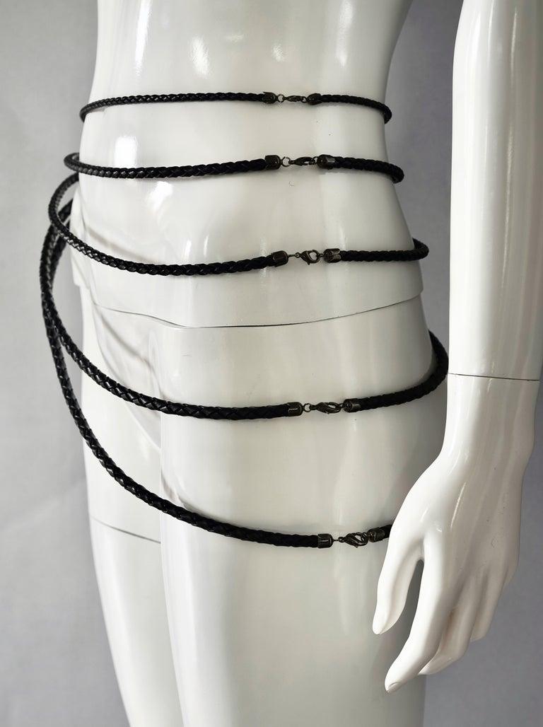Black Vintage JEAN PAUL GAULTIER Multi Layer Braided Leather Necklace Belt For Sale