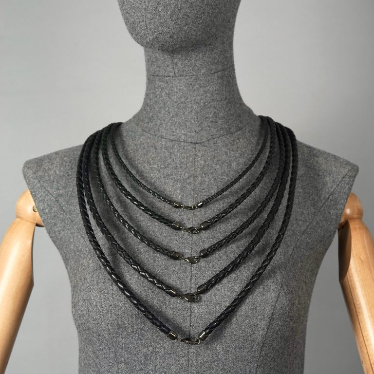 Vintage JEAN PAUL GAULTIER Multi Layer Braided Leather Necklace Belt In Excellent Condition For Sale In Kingersheim, Alsace
