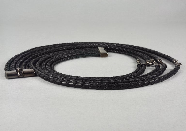 Vintage JEAN PAUL GAULTIER Multi Layer Braided Leather Necklace Belt For Sale 3
