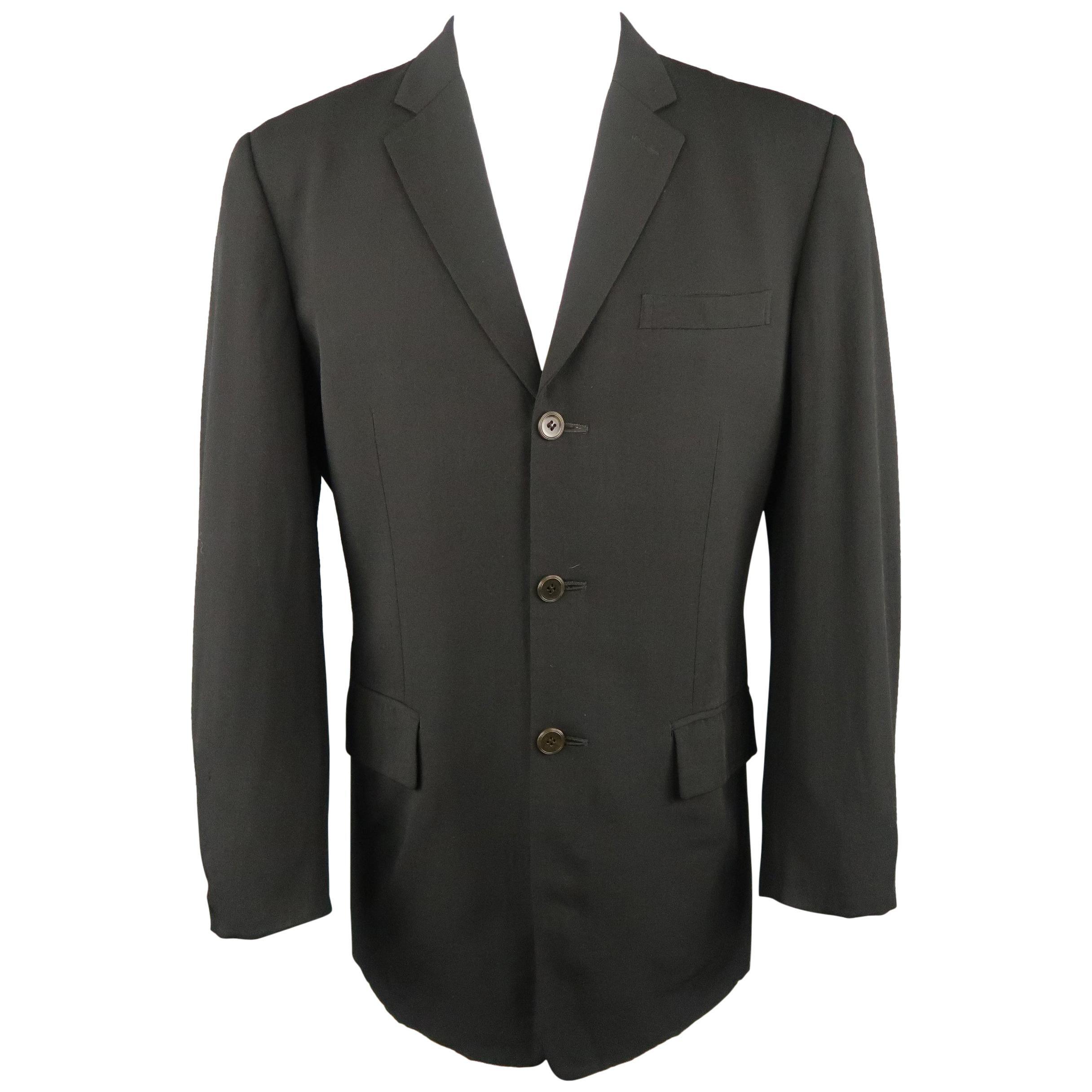 Vintage JEAN PAUL GAULTIER OBJET 38 Black Wool Twill Notch Lapel Sport Coat